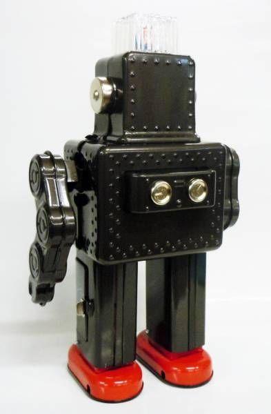 Robot - Battery Operated Tin Robot - Smoking Space Man (Ha Ha Toys) black