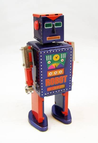 Robot - Mechanical Walking Tin Robot - D-73 Robot (St.John Tin Toy)