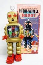Robot - Mechanical Walking Tin Robot - High-Wheel Robot (sparkling) gold version (Ha Ha Toy)