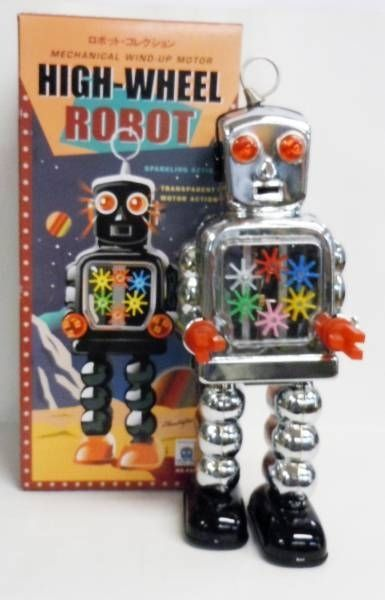 Robot - Mechanical Walking Tin Robot - High-Wheel Robot Silver (sparkling) Ha Ha Toy