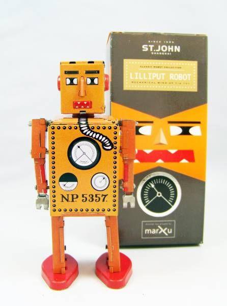 Robot - Mechanical Walking Tin Robot - Lilliput  Robot (St.John Tin Toy)