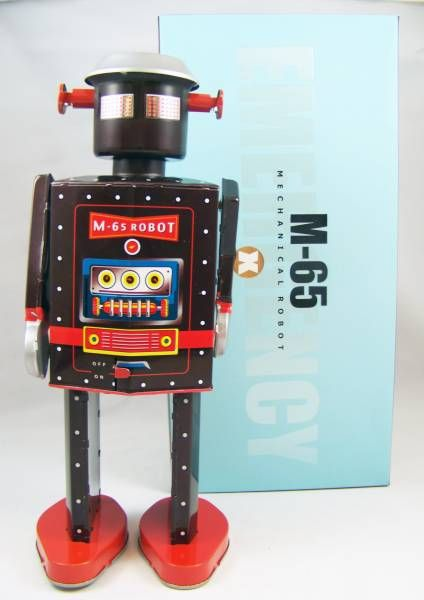 Robot - Mechanical Walking Tin Robot - M-65 Robot Emergency (St.John Tin Toy)