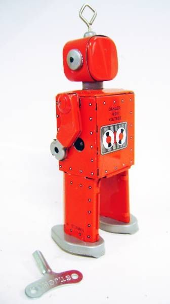 Robot - Mechanical Walking Tin Robot - Neutron Robot (St.John Tin Toy)