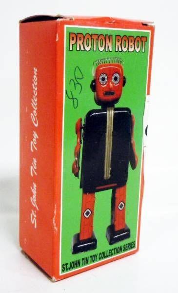 Robot - Mechanical Walking Tin Robot - Proton Man (St.John Tin Toy)