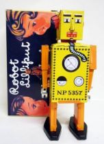 Robot - Mechanical Walking Tin Robot - Robot Lilliput (Q.S.H.) yellow