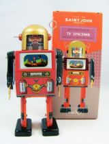 Robot - Robot Marcheur Mécanique en Tôle - TV Spaceman (St.John Tin Toy) 01