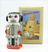 Robot - Mini Tin Toy Wind-Up - Zoomer Robot (grey) Yonezawa