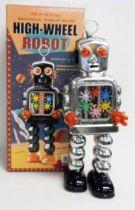 Robot - Robot Marcheur Mécanique en Tôle - High-Wheel Robot (étincelant) argenté Ha Ha Toy