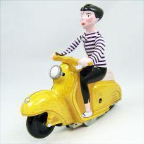 Scooter - Jouet mécanique en Tôle - Scooter Girl Jaune (Clock Work)