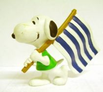 Snoopy - Comic Spain PVC Figure - Snoopy Flag Carrier (Blue & White Stip)