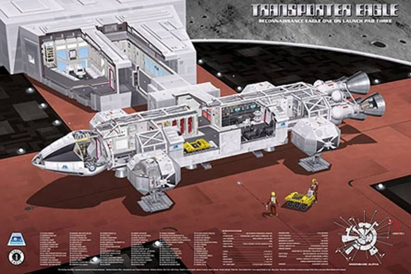 Space 1999 - Cutaway Poster 36 x 24 inches - Eagle Transporter on Alpha\'s launch Pad \'\'Three\'\'