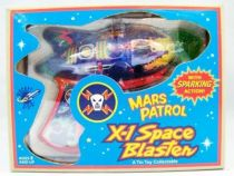Space Gun - Sparkling Tin Toy - Mars Patrol X-1 Space Blaste