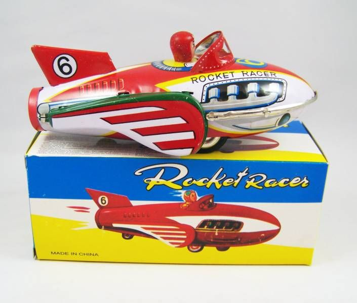 Space Toys - Friction Powered with Siren Tin Rocket - Space Rocket