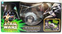 Star Wars (Power of the Jedi) - Hasbro - TIE Interceptor with Imperial Pilot (loose with box)
