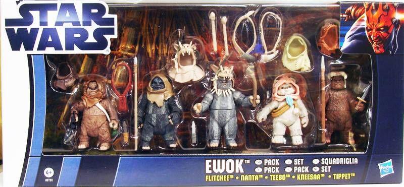 Star Wars vintage style - Hasbro - Ewok Pack : Flitchee, Nanta, Teebo, Kneesaa, Tippet