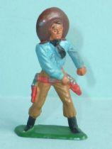 Starlux - Cow-Boys - Série 57 Ordinaire - Piéton Main sur révolver (bleu & ocre) (réf 129)