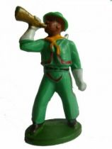 Starlux - Cow-Boys - Series 46 - Footed bugle & rifle on back (green) (ref CB7)