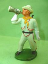 Starlux - Cow-Boys - Series 46 - Footed bugle & rifle on back (light green) (ref CB7)