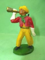 Starlux - Cow-Boys - Series 46 - Footed bugle & rifle on back (red & yellow) (ref CB7)