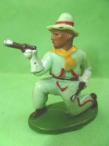 Starlux - Cow-Boys - Series 46 - Footed Firing pistols kneeling (green) (ref CB10)
