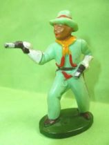 Starlux - Cow-Boys - Series 46 - Footed Firing pistols standing (green) (ref CB3)