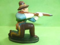 Starlux - Cow-Boys - Series 46 - Footed Firing rifle kneeling (blue & brown) (ref CB2)