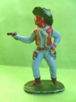 Starlux - Cow-Boys - Series 53 - Footed Firing gun standing (blue) (réf 123)