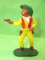 Starlux - Cow-Boys - Series 53 - Footed Firing gun standing (yellow) (réf 123)