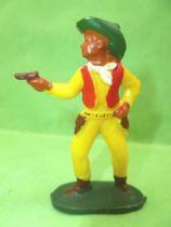 Starlux - Cow-Boys - Series 53 - Footed Firing gun standing (yellow) (réf 123)