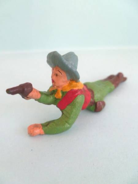 Starlux - Cow-Boys - Series 53 - Footed Firing pistol laying (green) (réf 126)
