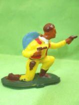 Starlux - Cow-Boys - Series 53 - Footed Kneeling firing gun (yellow) (réf 124)