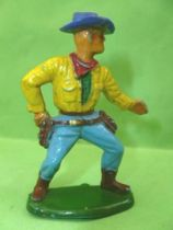 Starlux - Cow-Boys - Series 55/56 (Luxe) - Footed Hand on gun (yellow & blue) (réf C 2131)