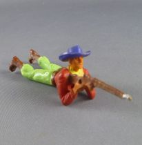 Starlux - Cow-Boys - Series 55/56 (Luxe) - Footed Laying firing rifle (red & green) (réf C 2125)