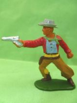 Starlux - Cow-Boys - Series 55/56 (Luxe) - Footed Standing firing gun (red & brown) (réf C 2123)