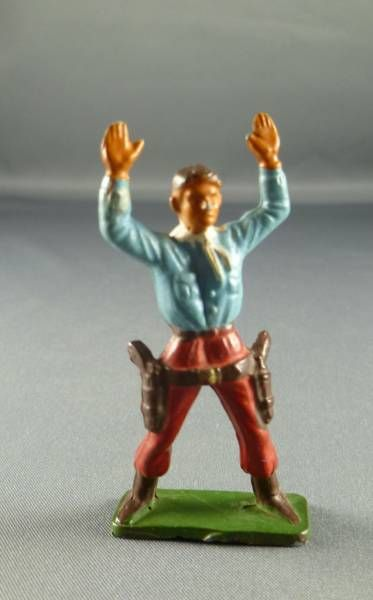Starlux - Cow-Boys - Series 57 (Regular) - Footed Both hands up (blue & red) (ref 126)