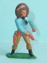 Starlux - Cow-Boys - Series 57 (Regular) - Footed Hand on gun (blue & ochre) (ref 129)