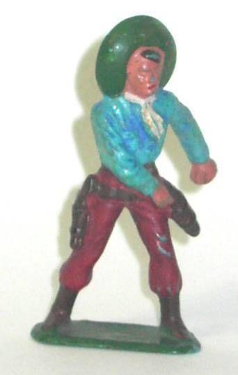 Starlux - Cow-Boys - Series 57 (Regular) - Footed Hand on gun (blue & red) (ref 129)