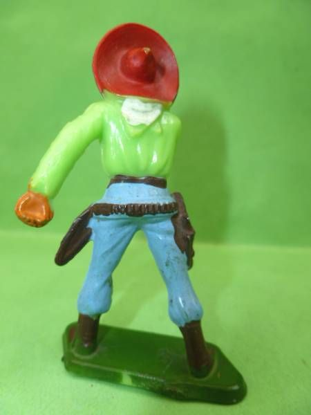 Starlux - Cow-Boys - Series 57 (Regular) - Footed Hand on gun (green & blue) (ref 129)