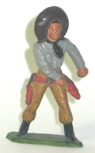 Starlux - Cow-Boys - Series 57 (Regular) - Footed Hand on gun (grey & light brown) (ref 129)