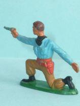 Starlux - Cow-Boys - Series 57 (Regular) - Footed kneeling firing gun (blue & ochre) (ref 124)