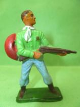 Starlux - Cow-Boys - Series 57 (Regular) - Footed Sheriff rifle on hip (green & blue) (ref 125)