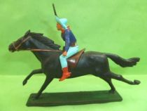 Starlux - Cow-Boys - Series 61 (Regular) - Mounted Rifle up (blue) black horse (ref 414)