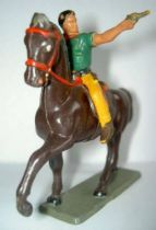 Starlux - Cow-Boys - Series 63 (Luxe) - Mounted 2 pistols(yellow & green) brown horse (ref 4413)