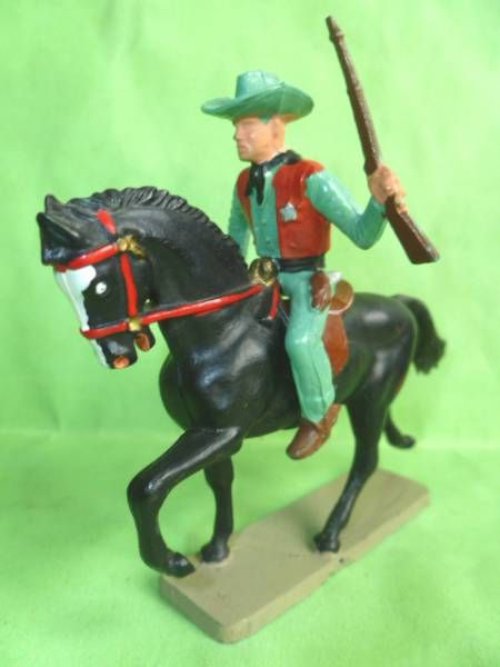 Starlux - Cow-Boys - Series 63 (Luxe) - Mounted Sheriff (green) black horse (ref 4411)