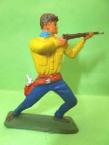 Starlux - Cow-Boys - Series 64 (Luxe Speciale) - Footed firing rifle bended knees (yellow & blue) (ref 5121)