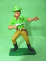 Starlux - Cow-Boys - Series 77 (regular) - Footed Gun on front (green & ochre) (ref 131)
