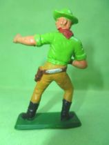 Starlux - Cow-Boys - Series 77 (regular) - Footed Gun on front (green & ochre) (ref 131)