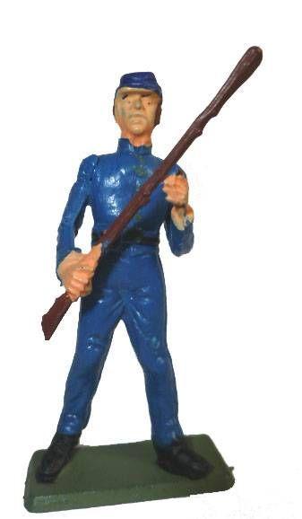Starlux - Federates - Series regular - Footed Trooper both hands on rifle  (dark blue) (ref N?)