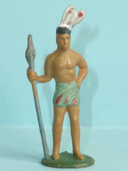 Starlux - Incas Series 53 - Footed Chief with spear (green - white feathers) (ref 185)