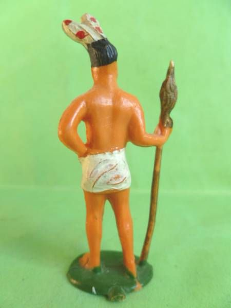 Starlux - Incas Series 53 - Footed Chief with spear (white - white feathers) (ref 185)